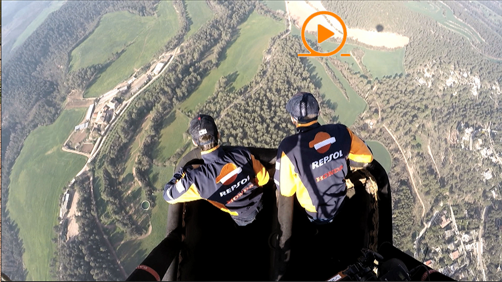 Marc Márquez and Dani Pedrosa in a hot air balloon