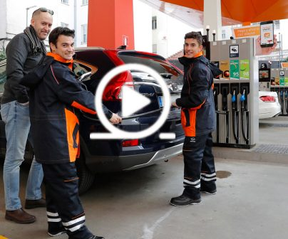 Would you recognise Marc Márquez and Dani Pedrosa at a service station?
