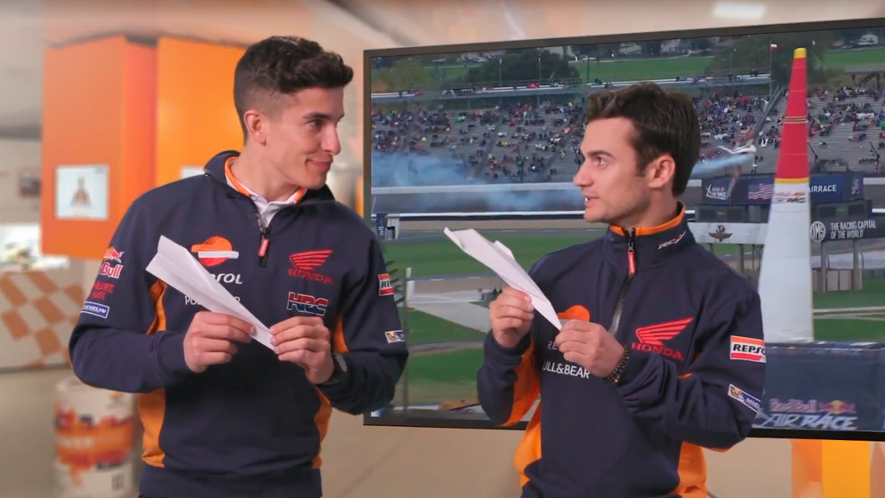 Marc Márquez and Dani Pedrosa cheer Juan Velarde